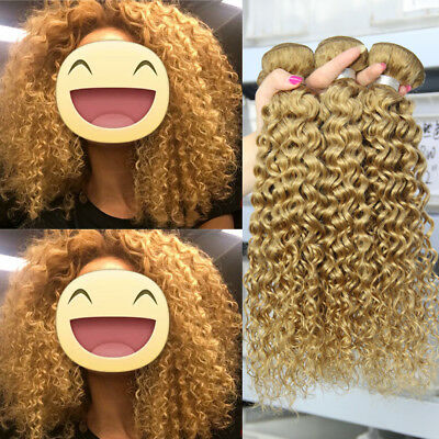 Honey Blonde Human Hair Extensions #27 Golden Brazilian Remy Straight Wavy Curly