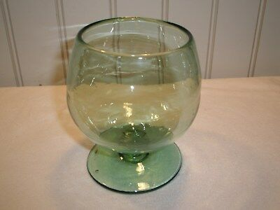Open Pontil Old Antique Tilted Blown Candy Nut Bowl Glass Crude Scar, Green 5.5""