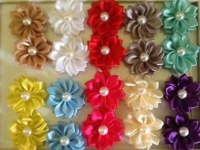 20 X 35mm APROX SATIN FLOWER &PEARL CENTRE 2 EACH OF 10 COLOURS NICE HEADBAND