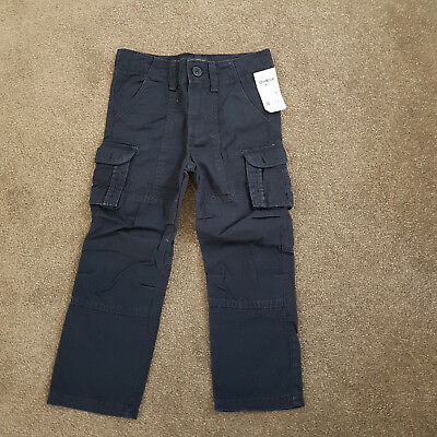 Toddler Boys OshKosh Navy Cargo Canvas Dress Pocket Lightweight Pants Sz 4 BNWT
