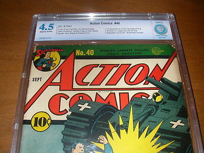 Action Comics  #  40  /  Golden Age /  Superman War Cover /   Cbcs  4.5