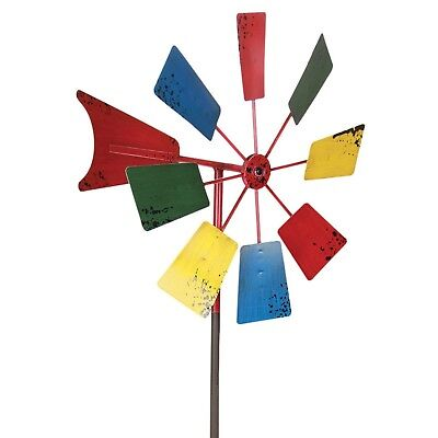 Metal Windmill Decor Stake Backyard Yard Garden Outdoor Vintage Kinetic Spinner
