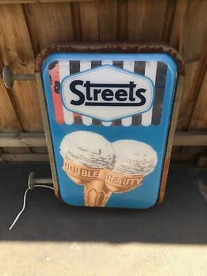 Large Original 1960s Streets Ice Cream Light Up Sign In Keysbrough Double Sided
