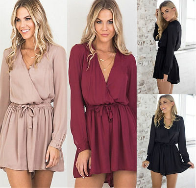 AU Size 6-14 Women Long Sleeve V-Neck Playsuit Ladies Loose Mini Jumpsuit Romper