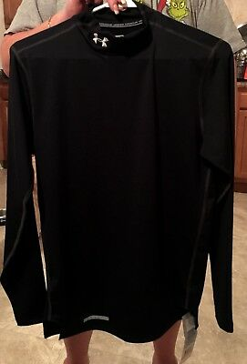 NWT Under Armour Mens SMALL Black ColdGear Mock Compression Long Sleeve Shirt
