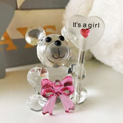 Crystal Bow Teddy Bear Holding Balloon - It's A Girl - New Baby Girl Birth Gift