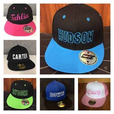 3x Kids Flat Brim Snap Back Hat Cap Personalised With Embroidered Name
