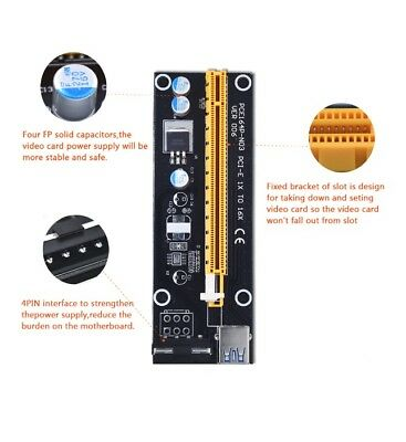 PCI-E Express 1x To 16x Extender Riser Board Card USB 3.0 Adapter Power Cable