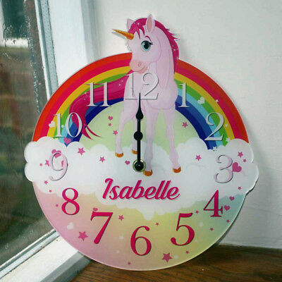 Unicorn Clock, Cute Fairy Tale Wall Clock, Personalised Girls Bedroom Wall Clock