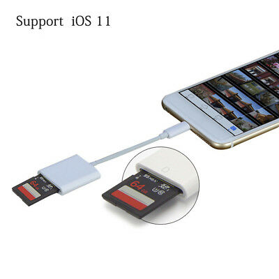 SD Card Reader Adapter for Camera iPhone 8 X 5 6 7 S Plus iPad Support IOS11.1