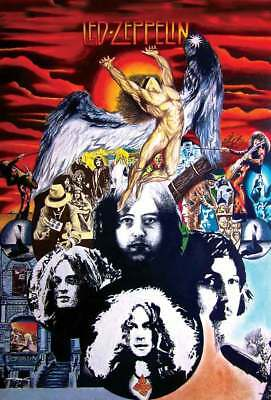 """LED ZEPPELIN """"COLLAGE"""" Band's Faces, Icarus, Album Cover Art Poster"""