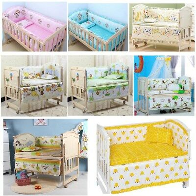 5pcs Cotton Baby Crib Nursery Bedding Set Bed Padded Bumper Fit Cot 120x60cm New