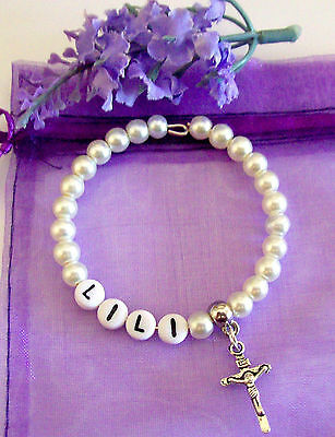PERSONALISED  CONFIRMATION HOLY COMMUNION HOLY CROSS PEARL BRACELET all lcolour