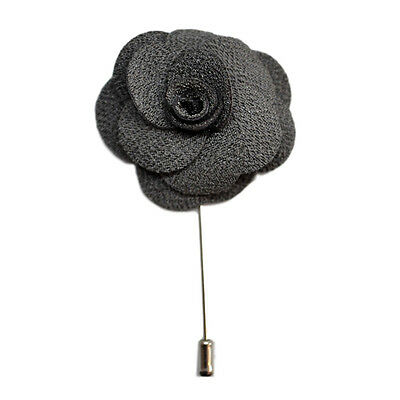 Dark Silver Grey Handmade Flower/Rose Lapel Pin for wearing with men's suit jack