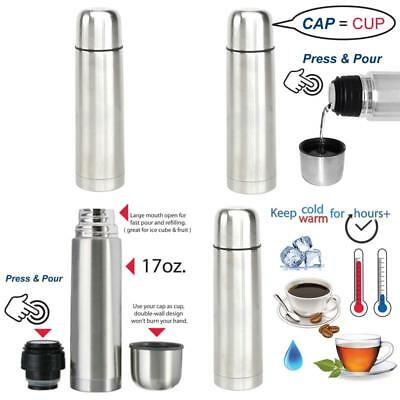 NEW Stainless Steel Vacuum Flask Bottle Thermos Portable Insulated Beverage 17Oz