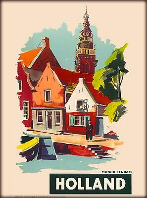 Holland Netherlands Dutch Village Vintage Travel Advertisement Art Poster Print