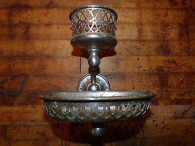 Nickel Wall Mount Cup & Soap Holder Marked S Sternau Bathroom Antique Brooklyn