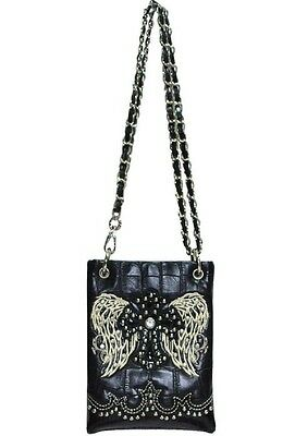 Mini Black Rhinestone Wings Spiritual Messenger Bag Cross Body Cell Phone Purse