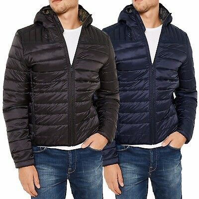 Mens URBAN CLASSICS Padded Quilted Hooded Jacket Coat Warm Winter Zip Up DIESEL
