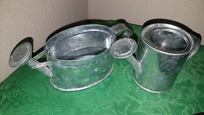 Pair of Adorable Vintage Galvanized Metal Miniature Watering Cans!
