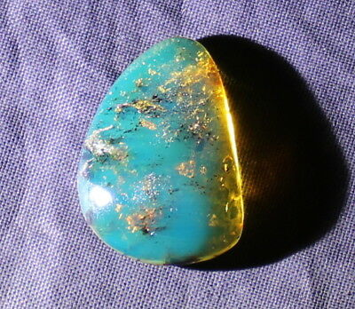 Dominican Clear Sky Blue Amber Polished Stone 22x15x6mm 1.1g  free drilling
