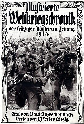 1914 * Frontpage Leipziger Zeitung with attacking German soldiers * WW I