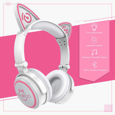 Mindkoo Cat Ear Headset Wireless Bluetooth Foldable Stereo Headphone W/LED Light