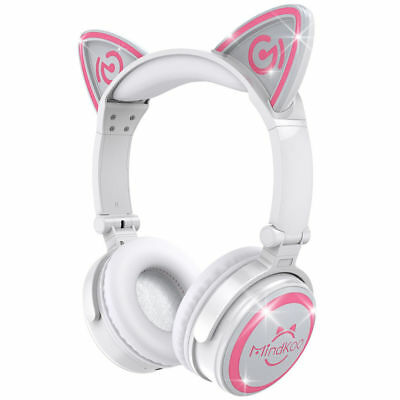 Foldable Cat Ear Headset Wireless Bluetooth AUX Stereo Headphones W/Pink Light