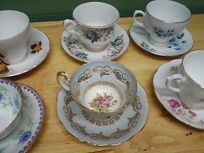 ENGLISH TEA CUP AND SAUCERS--LOT OF 6--Fine China