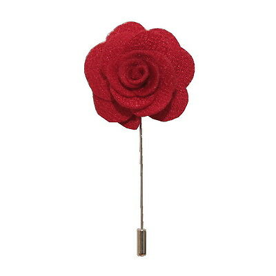 Red Handmade Flower/Rose Lapel Pin for wearing with men's suit jacket, blazer, d