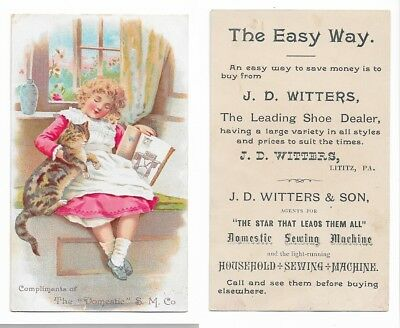 1880s Trade Card DOMESTIC Sewing Machines JD Witters Shoe Store Lititz Pa