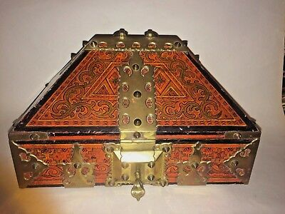 Antique Indian Kerala Wooden Brass Bound Jewelry Box Casket