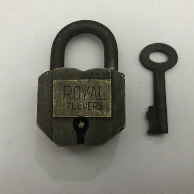 002 old or vintage solid brass padlock  lock with key small and decorative shape