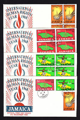 1968 Jamaica First Day of Issue FDC FOUR Covers Human Rights Year set & blocks