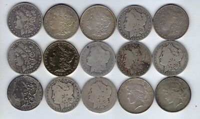 LOT OF 15 Morgan & Peace Dollars 90% Silver Various Dates & Mints