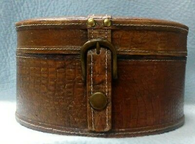 Vintage Leather Hat Box Brown With Brown Felt Lining*