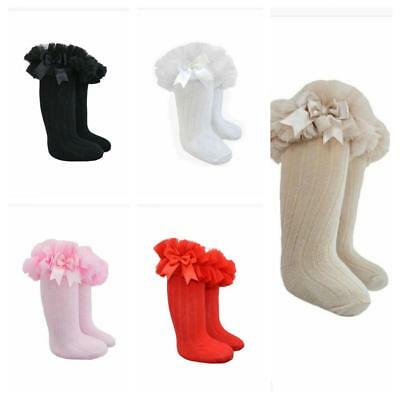 Girls Babies Winter Knee High Bow Frill Socks Tights Age New Born to Age 6 year