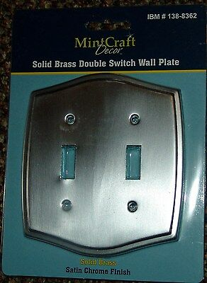 Mintcraft SATIN CHROME Toggle Switch Plate  metal 1 2 gang cover