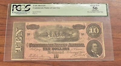 Confederate States of America $10 - 1864 PCGS About New 50 (TGC110)