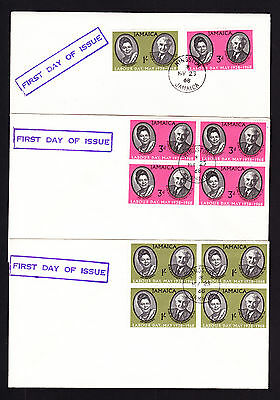 1968 Jamaica First Day of Issue FDC THREE Covers Labour Day Pair & Blocks Cover