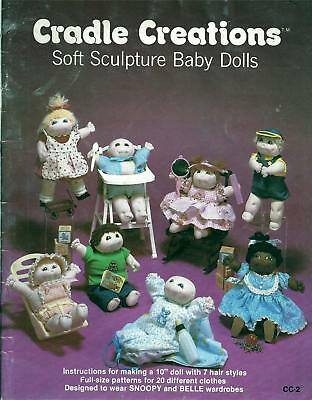 "Vintage Cradle Creations 10"" Soft Sculpture Baby Dolls & Clothes Sewing Patterns"