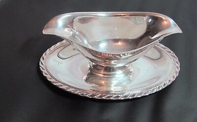 Silver Plated Gravy Boat With Attached Under-plate