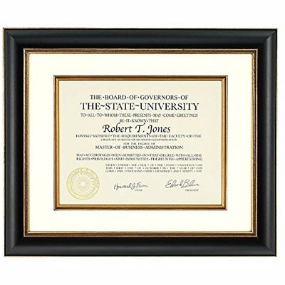 Artcare By 12x15 Tuscan Collection Black And Gold Archival Document Frame With
