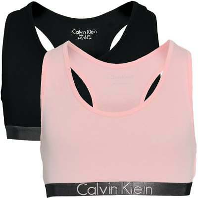 Calvin Klein GIRLS 2 Pack Customized Stretch Bralette, Black / Pink