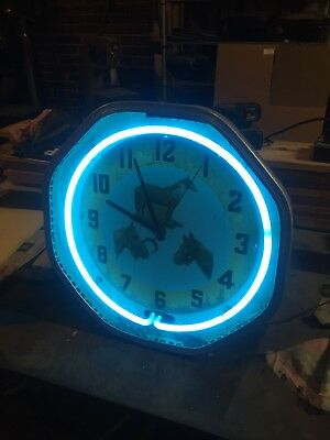 Vintage Neon Products Co blue neon clock working needs restored
