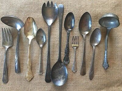 Silver plate And Stainless Mixed Lot Silverware  Serving ware Vintage