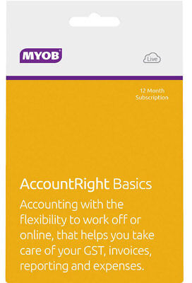 New MYOB - AccountRight Basics - 12mth Subscription from Bing Lee