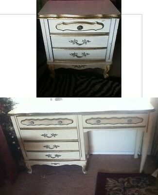 VINTAGE 2 Pieces Sears Bonnet French Provincial Desk Table Night Stand Drawers