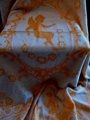 Vintage~Antique French Bed Cover~Throw With Angels & Cherubs~Chic Chateau