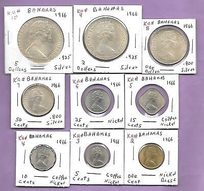 Complete 1966 Year Set of 9 Bahamas Coins, 4 Silver